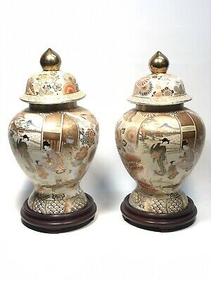 Large Pair Of SATSUMA Lidded Ginger Jars Butterflies-Flowers Signed W/Stands