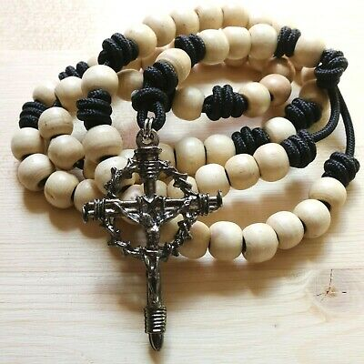 Rosary Black Paracord Natural Wood Beads Wearable Crucifix Catholic Necklace