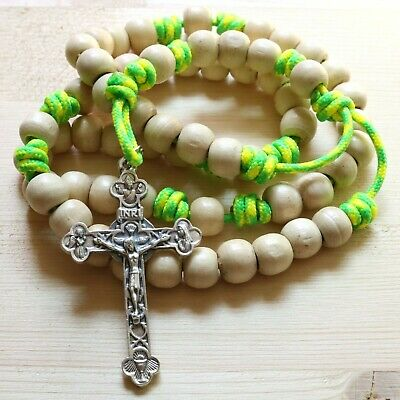 Rosary Yellow Green Paracord Natural Wood Beads Crucifix Cross Catholic Necklace