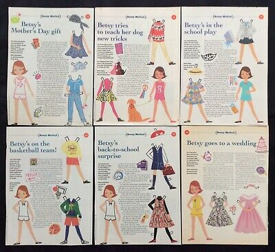 Lot of 6 Betsy McCall Magazine Paper Doll Pages from 1993 & 1994