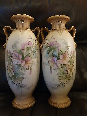 LRG Antique Vintage Alexandra Porcelain Works Turn Royal Vienna Vases - one A/F