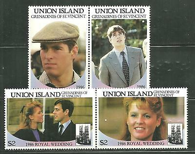 St Vincent Union 228-29 Mnh Pairs Royal Wedding Prince Andrew