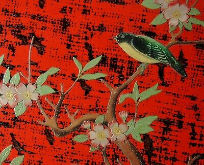 "SPECTACULAR 16"" ANTIQUE JAPANESE RED LACQUER TRAY Bird Cherry Blossoms Sakura"