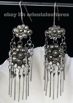 Tribal exotic chinese handmade miao silver filligree earring