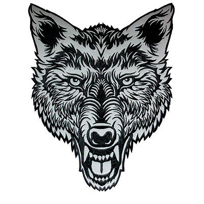 Vegasbee® Big Lone Wolf Head Reflective Embroidered Patch Biker Jacket Vest Usa