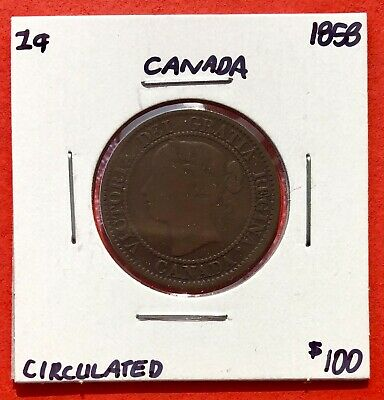 1858 Canada Large One Cent Coin First Year - $100 Circulated