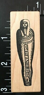 EGYPTIAN ANCIENT MUMMY ENCASEMENT COFFIN TOMB Toybox Wood Mounted Rubber Stamp