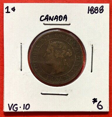 1888 Canada Large One Cent Coin - VG/F