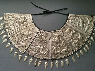 Vintage Miao Chinese Alpaca Silver Repoussed Collar Necklace with creatures