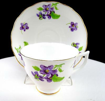 """Melba China England Purple Floral And Gold Trim 2 3/4"""" Cup And Saucer Set"""