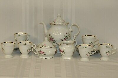 17 piece Wawel China Tea Coffee Set Pink Floral w/ Gold Trim Poland