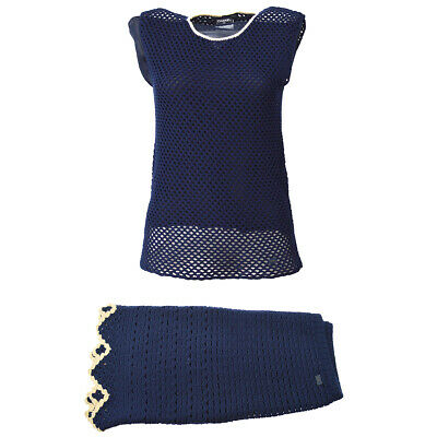 Authentic CHANEL Knit Set Up Sleeveless Tops Skirt Navy France Vintage Y03846