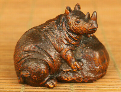 Asian old boxwood Handcarved hippo statue netsuke table home decoration gift