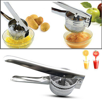Potato Masher Ricer Press Stainless Crushing Puree Fruit Vegetable Juicer Tool