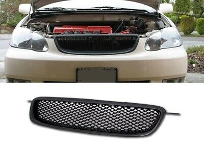 Fit 03 08 Toyota Corolla Ce Le S Jdm Black Hood Front Grill Grille Badgeless