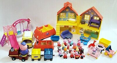 Peppa Pig Toy Playset Lot House Car Van Train Swing Set Accessories and Figures