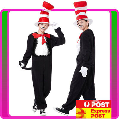 Kids Dr Seuss Cat In The Hat Costume Party Book Week School Child Boys Jumpsuit