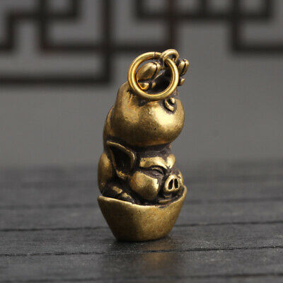 Chinese Collection old Antique Brass Zodiac pig Exquisite Key buckle Pendant