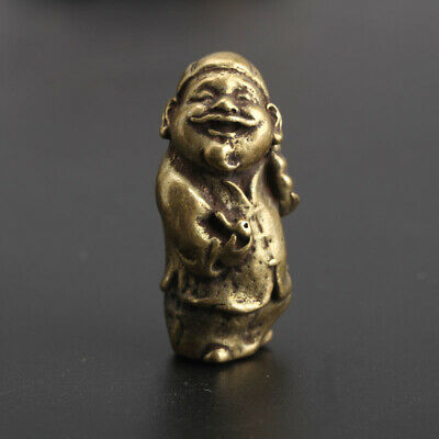 Chinese Collection old Asian Brass landlord Key buckle Exquisite statue