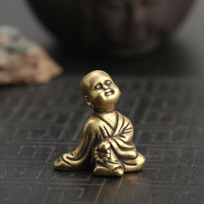 Chinese Collection old Asian Brass young Buddhist monk Exquisite  statue