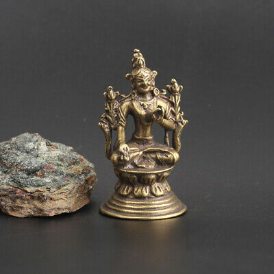 Chinese Asian old Antique Collectible Brass white tara Pendant statue