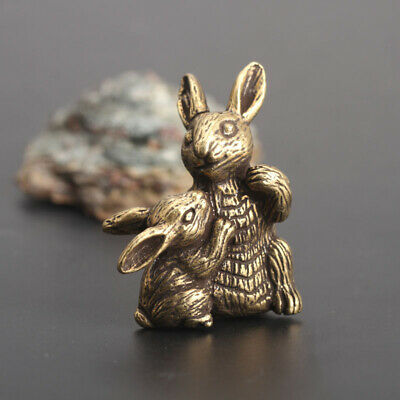 Chinese old Antique Collectible Brass Zodiac Mother and son rabbit statue