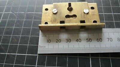 Vintage Brass Writing Slope-Box-Chest Lock, No Keep  1 Key - 2 Lever-63mm (349)