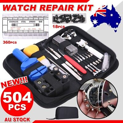 504Pcs Watch Repair Tool Kit Back Case Remover Opener Watchmaker Spring Pin Bars