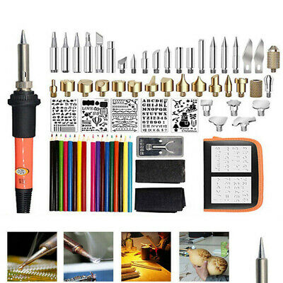 60W Wood Burning Pen Tool Soldering Stencil Iron Craft Set Pyrography