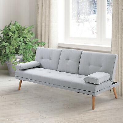 2/3 Seater Sofa Bed Scandi Style Recliner Cushions Adjustable Back Fabric Grey