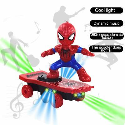Kids Spiderman Toys Electric Spider-Man 360° Rotating Scooter With Music Light