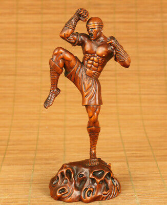 chinese old boxwood hand carved Magebane statue netsuke table home decoration