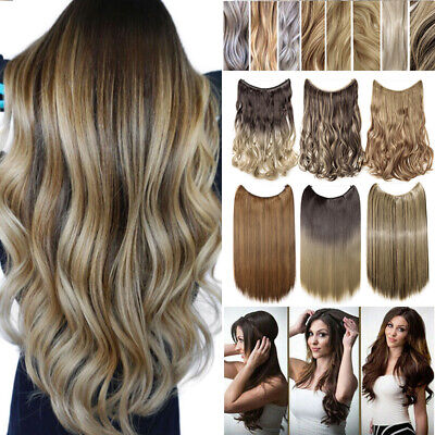 AU Ombre Blonde Secret Halos Wire In Half Head Hair Extension Thick As Human y6
