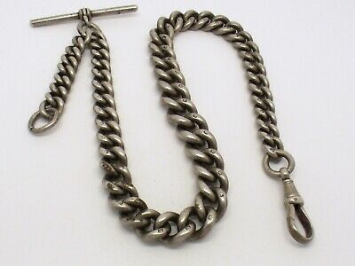 Antique sterling silver single graduated Albert watch chain - 71.4g
