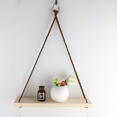 2X Vintage Rope Hanging Solid Wood Shelf Wall Rustic Floating Shelf Home Storage