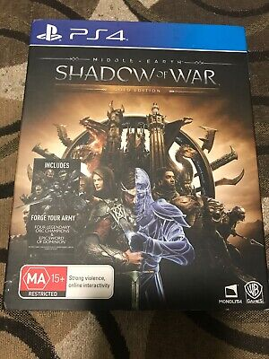 Middle Earth Shadow Of War PS4 Gold Edition Steel Case PlayStation 4 Codes Used