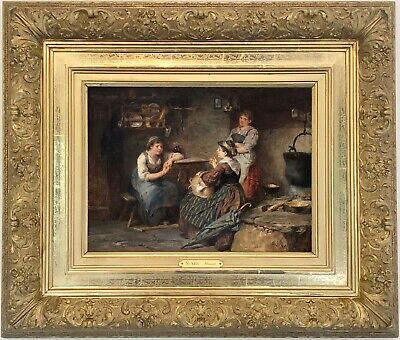 A Rustic Interior Antique Genre Oil Painting by Wilhelm Marc (German, 1839-1907)