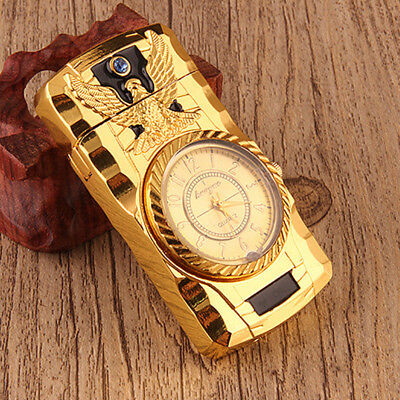 Luxury Metal Windproof Jet Torch Gas Butane Cigarette Lighter Bird Quartz Watch