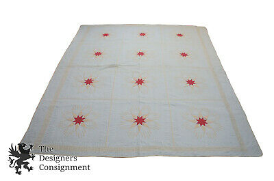 Antique Folk Art Starburst Pattern Cotton Quilt Applique North Star Flower 75x88