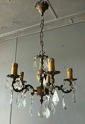 Antique French Solid Brass and Crystal Glass 5 Arm Branch Chandelier Rewired VGC