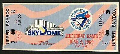 1989 Toronto Blue Jays Full Ticket The First Game At SkyDome MLB Baseball