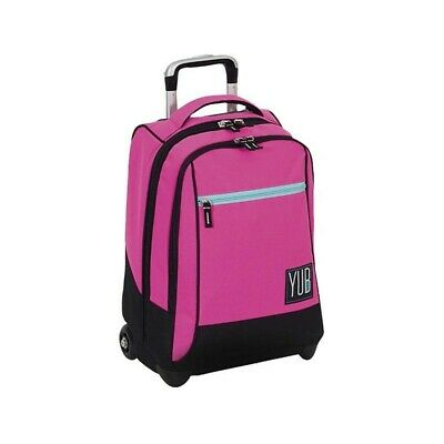 YUB school backpack with trolley fuxia