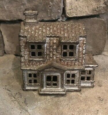 Antique Two Story Colonial Farm House Cast Iron Still Coin Bank