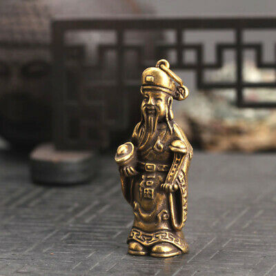 Chinese Old Antique Collectible Brass Mammon Pendant Key buckle statue