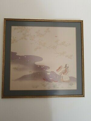 Beautiful Japanese Fine Print On Silk Picture Framed Gheisha Woman Delicate Colo