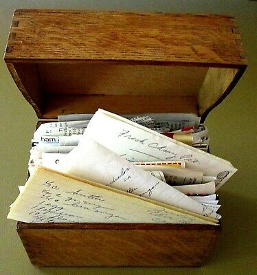 VINTAGE WOOD RECIPE BOX full of HANDWRITTEN, CUT, CLIPPED RECIPES + INDEX CARDS
