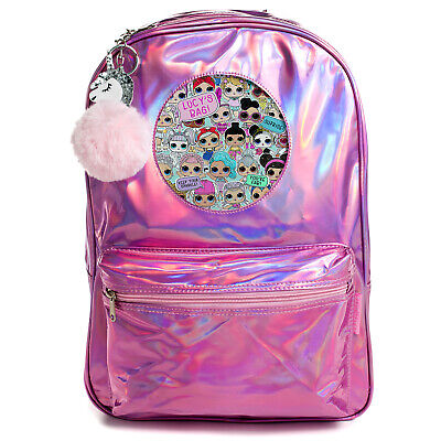 Personalised LOL SURPRISE Shiny Backpack Girls Holographic Pink School Bag PH15