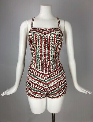 RARE 1950's Catalina Swimsuit Red Cherry Strawberry Novelty Print SO Pin-Up!