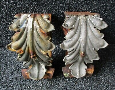 "ANTIQUE HAND FORGED WROUGHT IRON ZINC ACANTHUS LEAF BRACKETS CORBELS 6"" high  A"