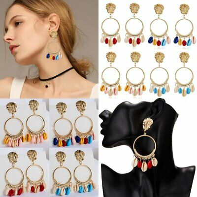 Charm Bohemia Women Shell Earrings Stud Metal Dangle Drop Boho Holiday Gift NEW